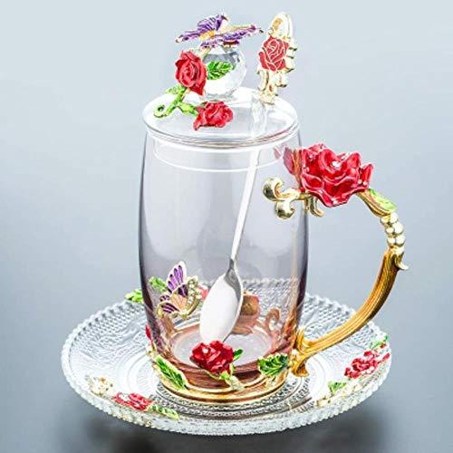 Nieuwe Elegante Rode Blauwe Rose Emaille Cup Bloem Theekop Pyrex Office Koffie Cup Sap Cup H