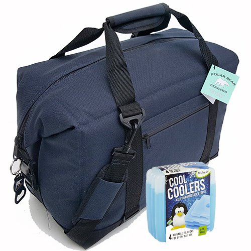 Polar Bear Coolers Nylon Series Soft Cooler Tote Size 24 Pack Navy Blue & Fit & Fresh Cool Coolers Slim Ice 4-Pack (Bundle)