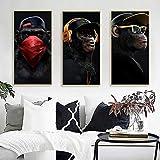 ganlanshu Cuadro En Lienzo-Cool Black Monkey Print sobre Lienzo para Carteles e imágenes, decoración de Arte de Pared para Sala de estar50x100cmx3pcsPintura sin Marco