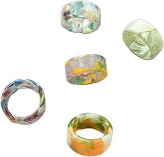 5 Pcs Candy Color Resin Band Ring Set Colorful Acrylic Adjustable Stackable Minimalist Thick Finger for Women Girls