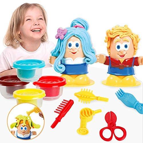 Colorido no venenoso para niños Barber Clay Juego Dough Hairstyle Juego de Juego Kit Clay Dough Mold Juego DIY Toy Juego de imaginación