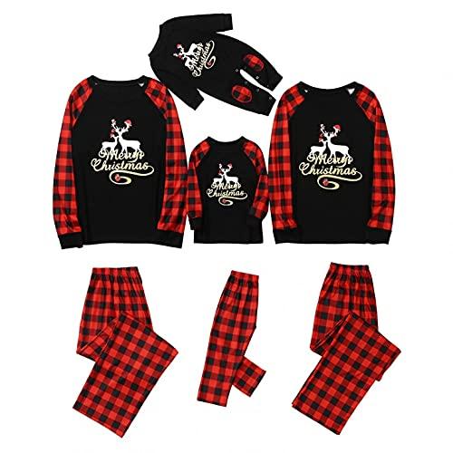 Fossen MuRope Pijamas Navideños Familiars a Juego de Rayas Negras y Verdes, Pijama Mujer Invierno Hombre Entero Niña Niño Bebe Baratos Reno