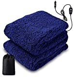 """Zone Tech Sherpa Fleece Travel Blanket – Premium Quality 12V Blue Cozy Soft Plush Warm Fuzzy Automotive Comfortable Car Seat 60' x 50"""" Blanket -Great for Winter, Home, Office and Camping"""