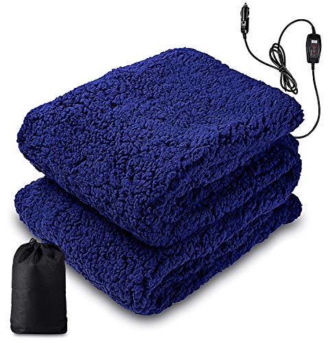 """Zone Tech Sherpa Fleece Travel Blanket – Premium Quality 12V Blue Cozy Soft Plush Warm Fuzzy Automotive Comfortable Car Seat 60"""" x 50"""" Blanket -Great for Winter, Home, Office and Camping"""