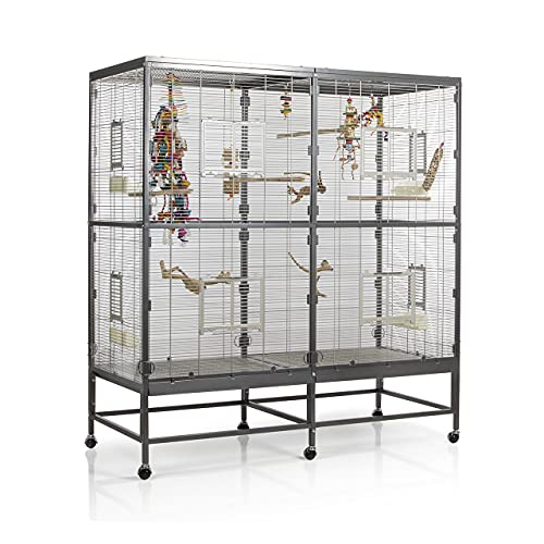Montana Cages ® | Vogelvoliere Paradiso 150 | Antik-Platinum | Voliere für Wellensittiche, Nymphensittiche & Co.