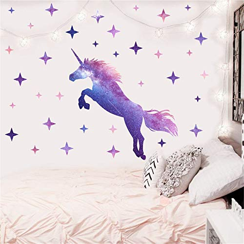 Kiddale Dream Unicorn Wall Stickers, Large Peel and Stick Unicorn Wall Decals with Stars for Girls Kids Bedroom Nursery Christmas Birthday Party Decoration,16.5x39.4inches