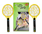 Twin Mini 2 Pack-Bug Zapper Rechargeable Fly, Mosquito, Gnats Killer Racket Outdoor, Indoor 4,000 Volt, USB Charging, Bright LED Light Insects Swatter in the dark ( 6.3 x 16.5 x 1.2)