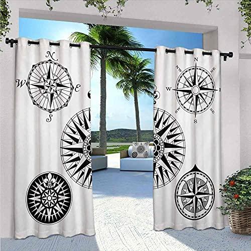 Bussola - Tende da cortile per esterni, con cinque rose di vento, con angoli di bussola per la navigazione nel mare, resistente alle intemperie, non sbiadisce, 172 x 200 cm, colore: bianco e nero