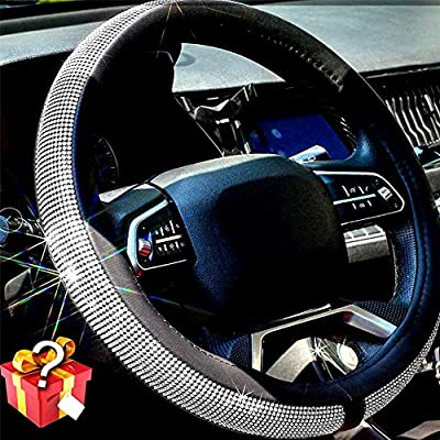 Valleycomfy Diamond Crystal Steering Wheel Cover for Women Girls- Bling Bling Rhinestones Steering Wheel Cover with Universal Fit 15 Inch(White Diamond)