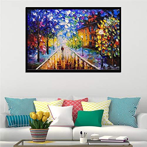 baodanla Kein Rahmen Paar unter der Lampe Baum, Dekoration Messer Malerei A1 60x90cm