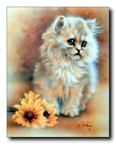 Cute Cat Wall Decor Sunflower Painting Animal Art Print Poster Picture (16x20)