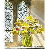 Diy pintura por números para colorear decoración para el hogar lienzo cuadros flores florero decoraciones 40x50 cm