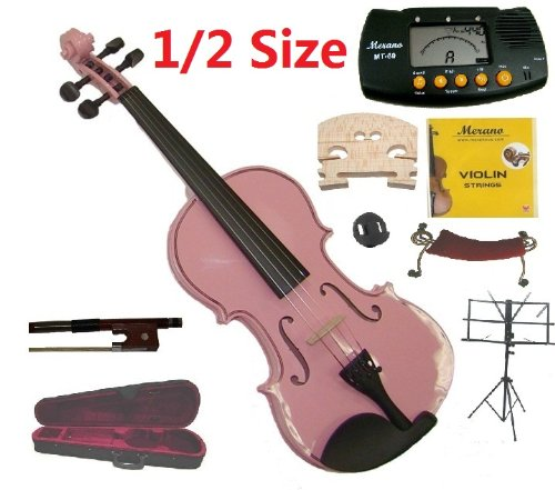 Merano 1/2 Size Pink Violin with Case and Bow+Extra Set of Strings, Extra Bridge, Shoulder Rest, Rosin, Metro Tuner, Black Music Stand, Mute