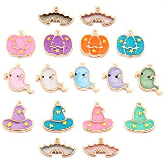 Assorted 17 Pieces Cute Halloween Jewelry Charms Enamel Pumpkin Ghost Witches Hat Bat Bead Pendant for DIY Charms Bracelet Necklace Earring Wine Glass Charms Keychain Charms Craft Supplies
