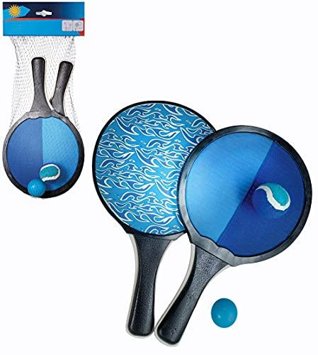 Smart Planet® Beach Tennis – Juego de pelota de velcro – Juego doble – 2 raquetas 2 pelotas, juego de velcro con minipalo para niños – Juego de playa para verano