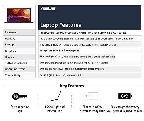 ASUS VivoBook15 Intel Core i5-1135G7(8GB RAM/512 GB NVMe SSD/Win10+McAfee/Ms Office H&S 2019/15.6-inch FHD IPS/ Intel Iris Xe Graphics /FP Reader/1.75 kg/Silver/1 Yr. Warranty)X515EA-EJ317TS