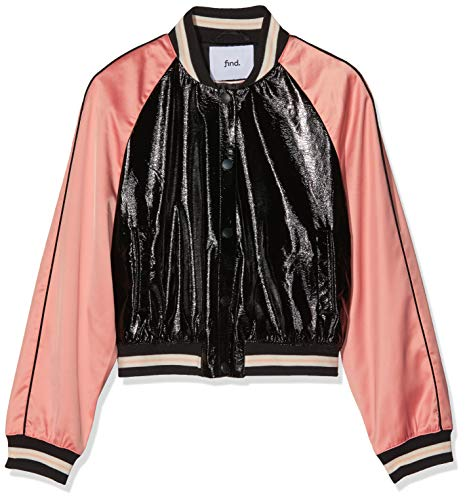 Amazon-Marke: find. Damen Bomberjacke in Lackleder-Optik, Rosa (Pink Black Mix), 34, Label: XS