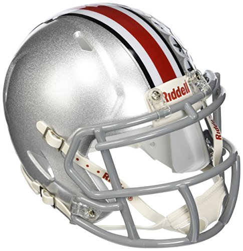 Riddell NCAA Ohio State Buckeyes Speed Mini Helmet Silver, 7.5' x 6.5'