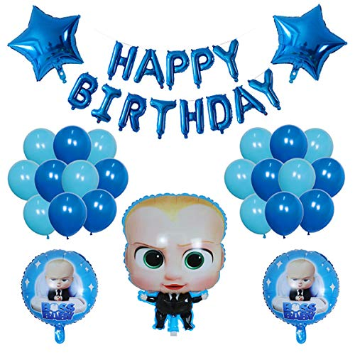 TOXYU Blue Balloons Baby Boss Happy Birthday Banner, 16 Inch Latex Aluminum Foil Balloons Banner for Reusable Birthday Decorations and Party Supplies