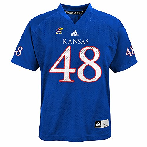 adidas Kansas Jayhawks NCAA Azul Oficial Casa # 48réplica Jersey de fútbol para jóvenes, XL, Azul