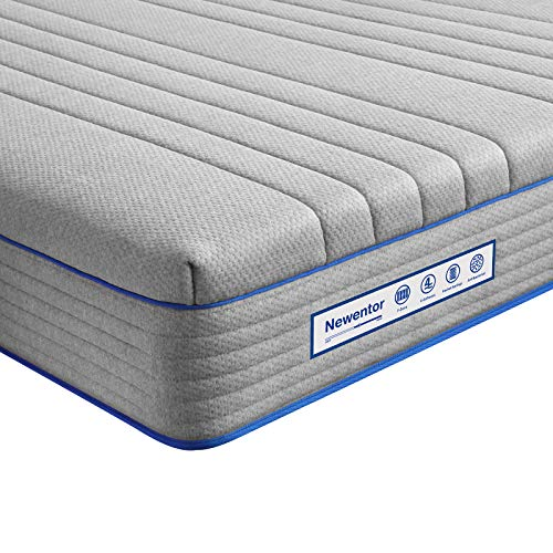 Double Mattress, Newentor Memory Foam Mattress with Pocket Sprung Hybrid Mattress, 4ft6 Mattress 23cm Medium Firm, Double Bed Mattresses with Breathable Bamboo Fiber Cover, Grey, 135x190cm