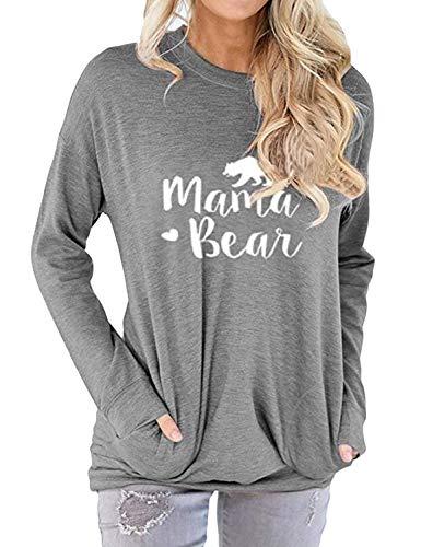Dresswel Women Mama Bear Shirt Batwing Long Sleeve Sweatshirt Loose Fit Casual Tops T Shirts with Pockets Grey