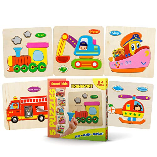 Smart Kids - Wooden Puzzles for Toddlers - 5 Pack - Baby Puzzles Age 3+ Toddler Puzzles for Boys and Girls - Transport Set - Train - Helicopter - Fire Truck - Ship - Digger - 49 pcs.