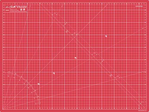 La Canilla ® - Base de Corte Autocicatricante Patchwork A2 (60x45cm) Centímetros y Pulgadas con Cuadrícula Cutting Mat de 5 capas para Costura y Manualidades - Alfombrilla de Corte (Rojo)