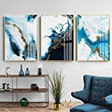 Fondo de mármol azul abstracto moderno, pintura de lienzo de estilo nórdico dorado mate, sala de estar, arte de pared para el hogar, decoración, póster, imágenes-50x70cmx3