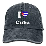 Hoswee Hombres Mujer Gorra Beisbol,Snapback Sombreros I Love Cuba Plain Adjustable Cowboy Cap Denim Hat for Women and Men