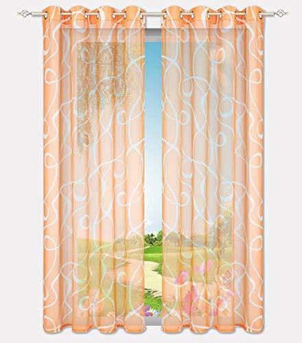 Home U Lot de 1 Pièce Rideau Voilage Teinte Couleur avec Motif Décoration de Salon, Chambre, Balcon (LxH 140x225cm, Orange -Oeillets)