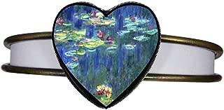 Bronze Retro Style Monet Water Lilies Heart Cuff Bangle Bracelet Fashion Jewelry