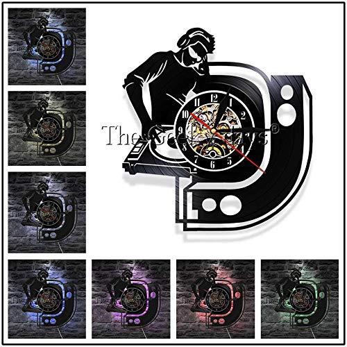txyang 1 Stück DJ Plattenspieler Mixer LP Schallplatte Wanduhr Spinning Scratching Album Moderne Wanduhr Nachtclub Wanduhr Kunst @ Multi_12_Inch_