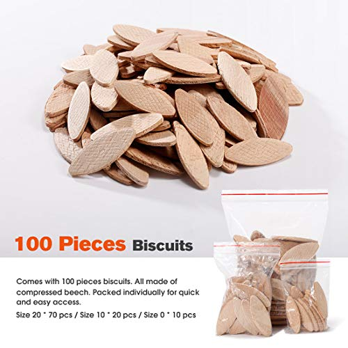 REXBETI Wood Biscuit Plate Joiner Kit, 100-Piece Wood Biscuits Included, Suitable for All Wood Type