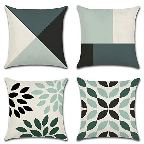 JOTOM 4er Set Kissenbezüge Tropische Pflanzen Blätter Dekorative Setzen Fall Sofa Kissenbezug Geometrische Muster 45 * 45cm (Geometrie A)