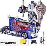 Zhangl Transformers Optimus Prime Juguetes, Carga del coche teledirigido, Deformación Autobots Camión articulado for robot de 3-6 años fiesta de Navidad de cumpleaños de regalo de los niños Regalo del