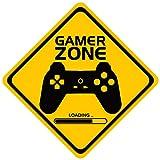 Fussion Letrero señaletica de Gamer Zone Decorativo para Habitacion Pared Puertas Niños Salon de Juegos Decoracion Videojuegos