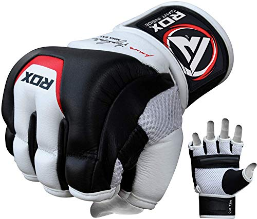 RDX Cow Hide Leather MMA Grappling Gloves UFC Cage Fighting Sparring Glove Training T3, X-Large, White