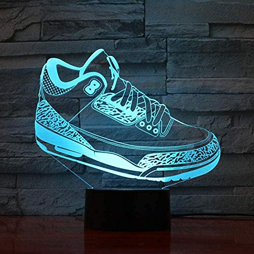3D Ilusión Lámpara Led Noche Luz Hombres Jordan Zapatos Baloncesto Presente Niñas Niños Mesa Dormitorio Zapatillas Jordan 3 Touch Sensor