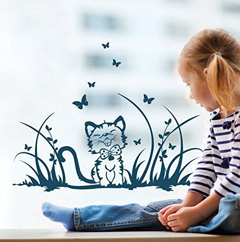 ilka parey wandtattoo-welt® Fensterbilder Kinder Frühling Kinderzimmer Katze Kätzchen Wiese Schmetterlinge M1369f