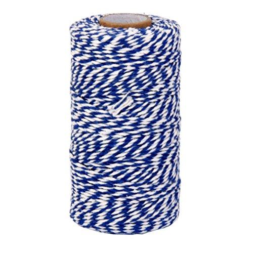 rosenice Draht von Baumwolle Schnur Pfannen Bakers Twine 100M (weiß blau navy)