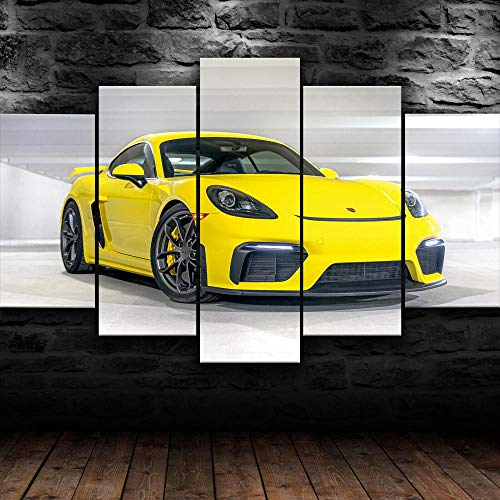 VYQDTNR - 5 Panel Wall Decor Oil Painting Canvas 3D Abstract Paintings 718 Caymen GT4 Yellow Super Car Modern Home Decor Wall Art for Living Room Framed Ready to Hang