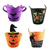 Tomaibaby 4 Pcs Tromper Ou Traiter Seaux Feutre Réutilisable Halloween Bat Pumkin...