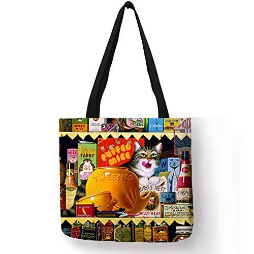 LINADEBAO - Bolsas de Mano para Mujer, diseño de Gatos, Ropa ecológica de Lino, Gran Capacidad, Casual, práctica, 009