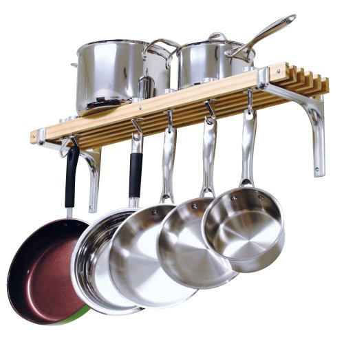 Cooks Standard Wall Mounted Wooden Pot Rack 36 by 8-Inch