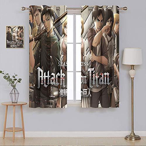 Attack on Titan Finale Season 2 Verdunkelungsvorhänge für Schlafzimmer, Heimdekoration, Fenstervorhänge, 2 Paneele, Fensterbehandlungs-Set, 140 x 160 cm