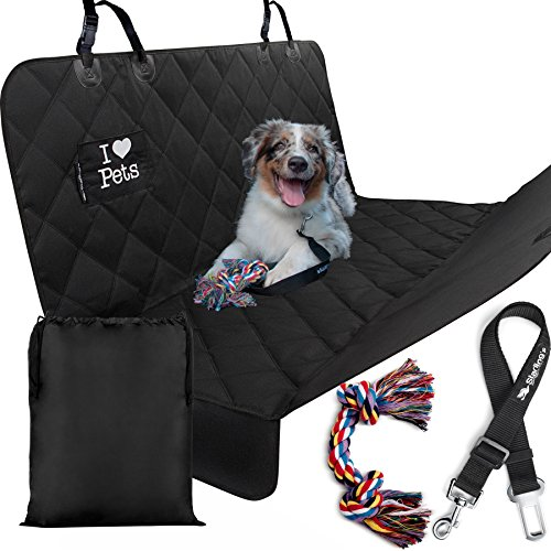 Starling's Luxury Dog Car Seat Covers for Backseat Double Stitched, Hammock Style, Heavy Duty, Waterproof & Non-Slip -W/Pet Car Seat Belt & a Dog Rope Toy, for Car & SUV!