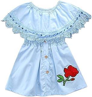 qighaima 子供ドレス ワンピース 女の子 キッズドレス プリンセス レース 花柄 袖なし おしゃれ 誕生日 結婚式 入園式 (90(2-3歳))80(1-2歳)