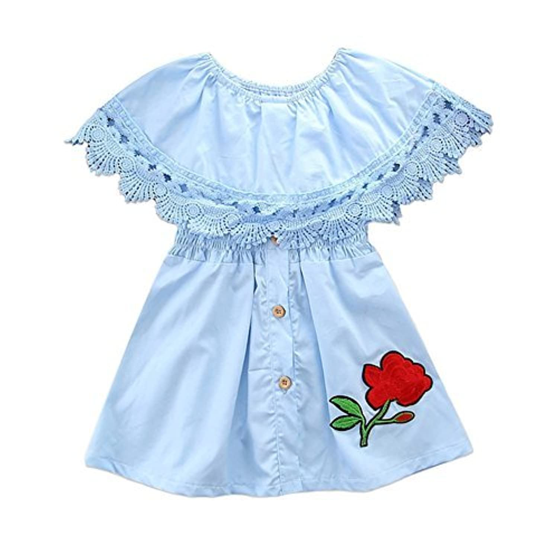 qighaima 子供ドレス ワンピース 女の子 キッズドレス プリンセス レース 花柄 袖なし おしゃれ 誕生日 結婚式 入園式 (90(2-3歳))