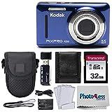 Kodak PIXPRO FZ53 16.15MP Digital Camera (Blue) + Black Point & Shoot Case + Transcend 32GB UHS-I U1 SD Memory Card & More!